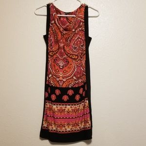 XOXO Paisley Print Dress With Black Accent M